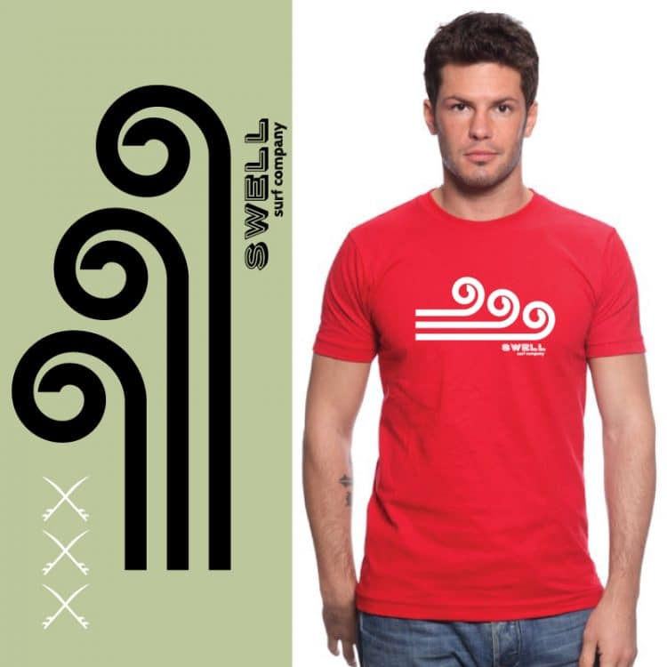 Men's Tshirt - Red - Swell Logo