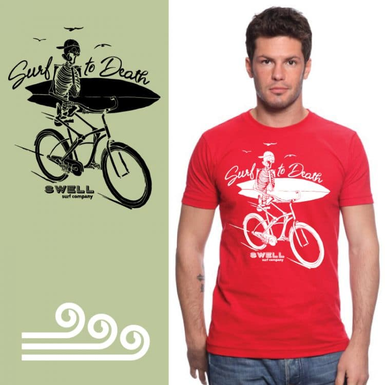 Men's Tshirt - Red - Surf to Death