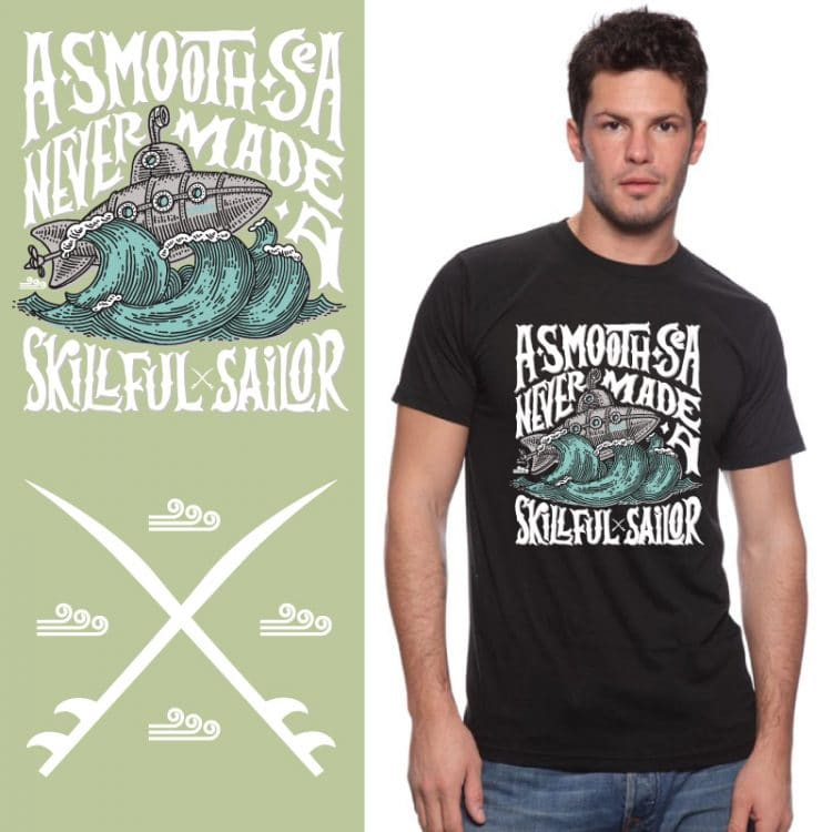 Men's Tshirt - Black - A Smooth Sea