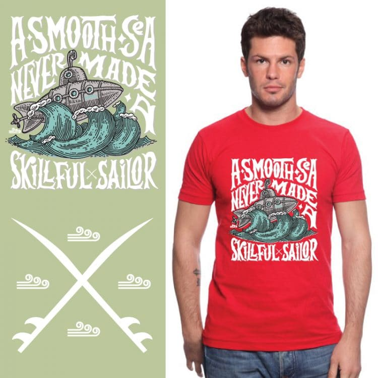 Men's Tshirt - Red - A Smooth Sea