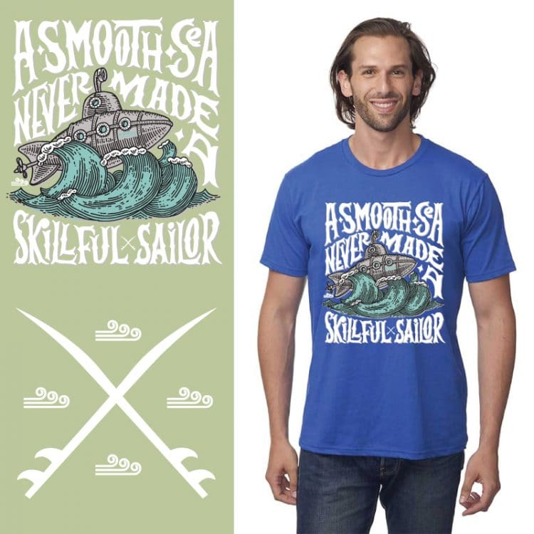 Men's Tshirt - Royal - A Smooth Sea