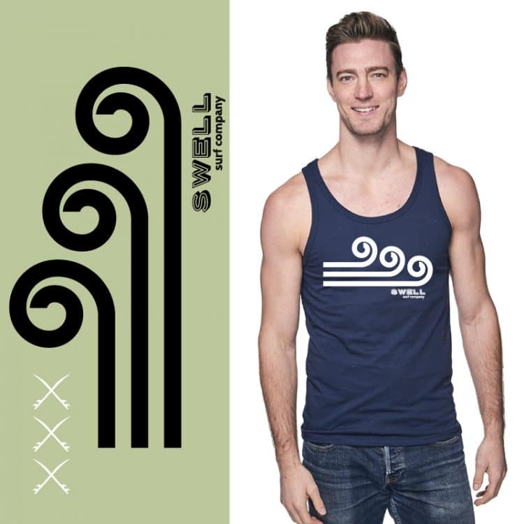 Men's Tank- Navy - Swell Logo