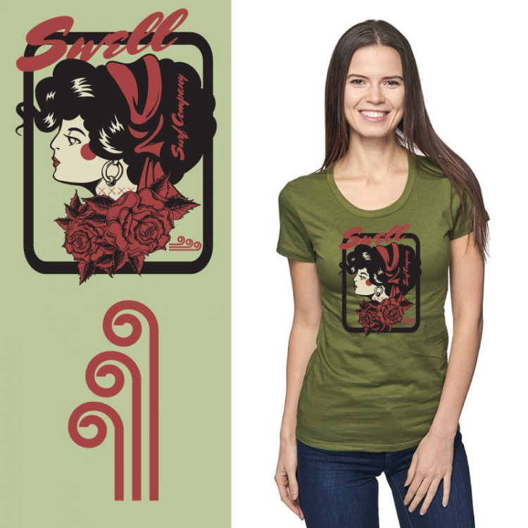 Women's Tshirt - Moss - Surf Tattoo