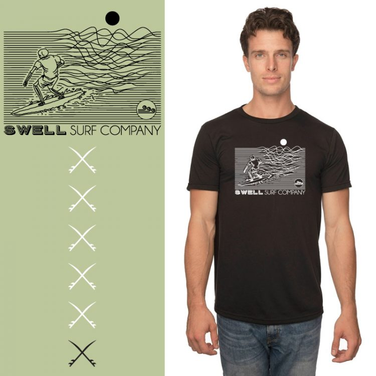 Men's Tshirt - Black - Line Surfer