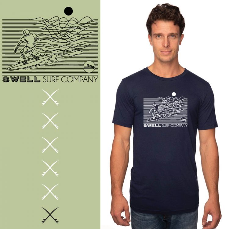 Men's Tshirt - Navy - Line Surfer
