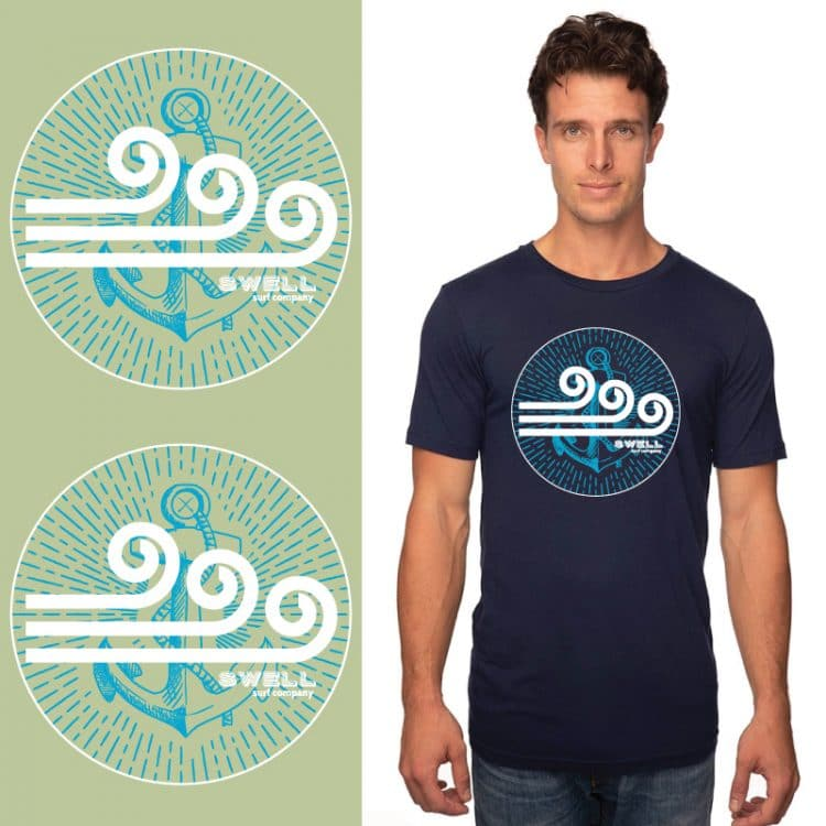 Men's Tshirt - Navy - Swell SC Anchor
