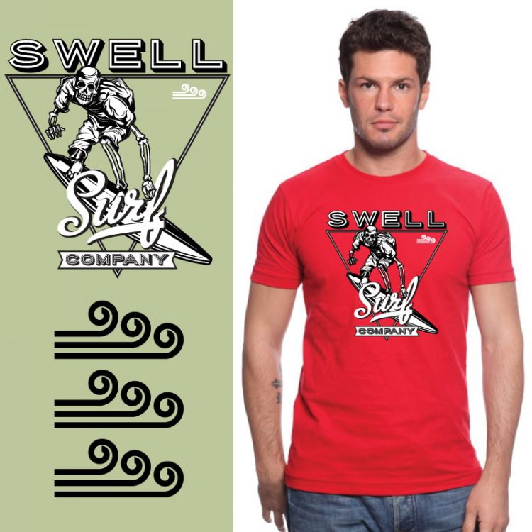 Men's Tshirt - Red - Surf Triangle