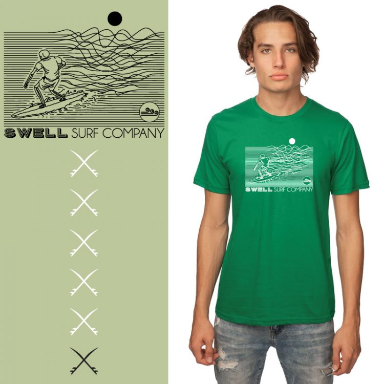 Men's Tshirt - Kelly - Line Surfer