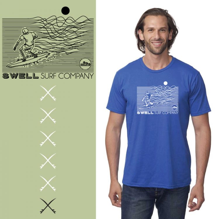 Men's Tshirt - Royal - Line Surfer